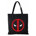 Popular Fashion Figure Printed Black Canvas School Shoulder Bag Tote Shopper Bag 35*33 CM