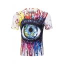 Trendy Splash-Ink Painting Round Neck Short Sleeve White Fitted T-Shirt