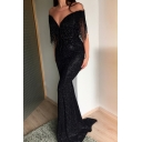 Womens Trendy Sexy Plunging V-Neck Tassel Hem Floor Length Black Bodycon Party Dress