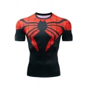 Mens Cool 3D Spider Web Pattern Short Sleeve Quick Drying Running Fitness Tight T-Shirt