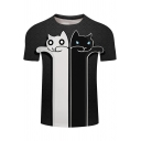 Summer Funny Cute Black and White Cat Printed Basic Short Sleeve T-Shirt