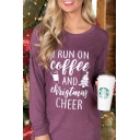 Funny Popular Letter I RUN ON COFFEE Round Neck Long Sleeve Loose Fit Casual Graphic Tee