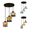 3 Lights House/Mix Ceiling Pendant Tiffany Stylish Stained Glass Hanging Light for Cloth Shop