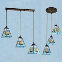 Stained Glass Ship Hanging Light with Craftsman Shade 3 Lights Nautical Style Island Pendant in Blue for Kitchen
