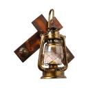 Antique Stylish Kerosene Wall Light Wood One Light Heritage Bass Sconce Light for Bar Coffee Shop