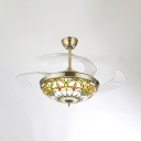42 Inch Tiffany Semi Flush Mount Light with Invisible Blade Stained Glass LED Ceiling Fan for Bedroom