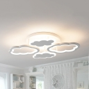 Metal Cloud Ceiling Lamp 4 Heads Simple Style LED Semi Flush Mount Light in Warm/White for Nursing Room