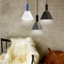 Metal Trapezoid Shade Pendant Light Living Room 1 Light Modern Hanging Light in Black/Gray/White
