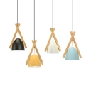 Restaurant Bowl Shade Pendant Light Metal 1 Light Macaron Loft Black/Blue/White/Yellow Ceiling Light
