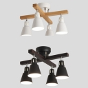 Iron Trapezoid Shade Semi Flush Ceiling Lihgt 4 Lights Nordic Ceiling Lamp in Black/White for Restaurant