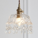 Contemporary Bowl Shade Pendant Lamp Clear Glass 1 Light Brass Hanging Lamp with Crystal for Kitchen