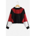 Girls New Trendy Colorblock Long Sleeve Elastic Hem Cropped Black and Red Hoodie