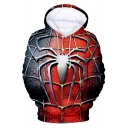 Popular Film Far From Home Cool Red Spider Web Print Casual Unisex Hoodie