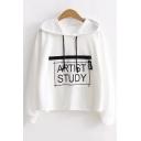 ARTIST STUDY Square Letter Print Long Sleeve Loose Sport Hoodie