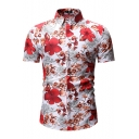 Summer Chic Floral Pattern Basic Short Sleeve Slim Fitted Button Shirt for Men