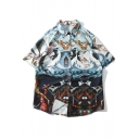 Vintage Abstract Oil Painting Short Sleeve Blue Casual Holiday Shirt for Men