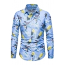 Summer Trendy Hawaiian Pineapple Printed Long Sleeve Blue Button Up Fitted Shirt for Men