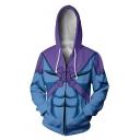 Trendy Purple and Blue Comic Cosplay Costume Long Sleeve Zip Up Casual Loose Drawstring Hoodie