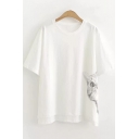 Girls Summer Simple Cute Cat Printed Round Neck Short Sleeve White Relaxed T-Shir