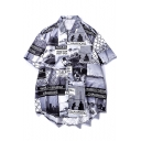 Guys Cool Street Fashion Letter Figure Print Short Sleeve Black Cotton Casual Shirt