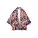 Chinese Style Floral Butterfly Printed Three-Quarter Sleeve UV Protection Kimono Shirt