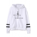 Sword Letter WINTER IS COMING Striped Long Sleeve Casual Loose Unisex Hoodie