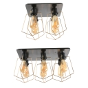 4/6 Lights Square Canopy Ceiling Mount Light Industrial Glass Edison Bulb Ceiling Light for Living Room