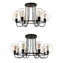 Metal Globe Wire Frame Ceiling Fixture 6/8 Lights Industrial Semi Flush Mount Light in Black for Living Room