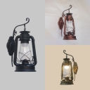Metal Kerosene Wall Light 1 Head Antique Stylish Hanging Sconce in Black/Brass/Copper for Bar