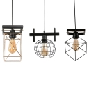 Metal Globe/Rectangle/Square Pendant Light One Light Industrial Hanging Lamp in Black Finish for Bar