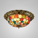Villa Bowl Shade Ceiling Lamp with Small Dot Stained Glass Tiffany Antique Flush Mount Light