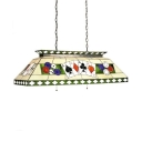 Multi-Color Poker Island Chandelier 6 Lights Antique Style Glass Island Light for Billiard Table