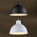 Restaurant Bar Bowl Pendant Light Aluminum Single Light Vintage Black/White Hanging Light