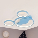 Acrylic Cartoon Mouse Ceiling Light Kid Bedroom Warm/White Lighting LED Flush Light in Blue/Pink/White