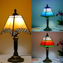 Craftsman Study Room Table Light Stained Glass 1 Head Tiffany Stylish Desk Light in Blue/Orange/Yellow