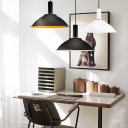 Domed Shade Office Pendant Lamp Aluminum 1 Light Modern Hanging Light in Black/Black&Yellow/White
