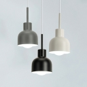 Black/Gray/White Dome Pendant Light One Light Simple Style Iron Hanging Light for Bedroom Hallway