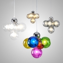 5 Lights Globe Shade Chandelier Modern Amber/Clear/Multi-Color/Smoke Pendant Light for Restaurant
