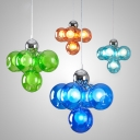 Orb Shade Cloth Shop Ceiling Pendant Blue/Green/Light Blue/Orange Glass 5 Lights Romantic Hanging Light