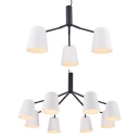 Dining-room Led Lighting 3/6 Light Contemporary White Metal Chandelier in Black Finish