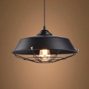 One Head Barn Hanging Lamp with Wire Frame Retro Loft Metal Pendant Light in Black for Kitchen