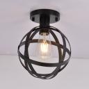 Living Room Spherical Ceiling Light Metal One Light Industrial Black Flush Mount Light