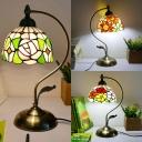 Glass Flower/Rose/Sunflower Table Light One Light Rustic Tiffany Desk Light for Living Room