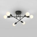6/8 Lights Stacked Semi Flush Ceiling Light Modern Metal Ceiling Fixture in Black/Gold/White for Bedroom