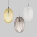 Melon Shape Living Room Ceiling Pendant Amber/Clear/Smoke Glass Modern Stylish Hanging Light