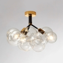 Modern Bubble Semi Flush Ceiling Light 3/4/6 Lights Clear Glass Ceiling Lamp in Black/Brown for Cafe
