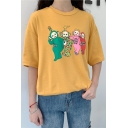 Teletubbies Cartoon Figure Pattern Round Neck Short Sleeve Casual Tee