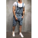 Guys New Stylish Simple Plain Distressed Ripped Denim Rompers Overalls