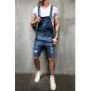 Guys Summer New Fashion Simple Plain Distressed Ripped Washed Denim Shorts Overalls