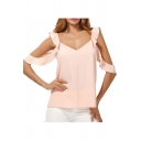 Women's Chic Pink Simple Plain Flutter Cold Shoulder Long Sleeve V-Neck Chiffon Blouse Top
